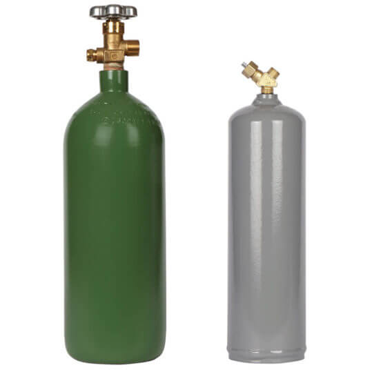 GCS 20 cuft Oxygen and 10 cuft Acetylene MC Steel Cylinders