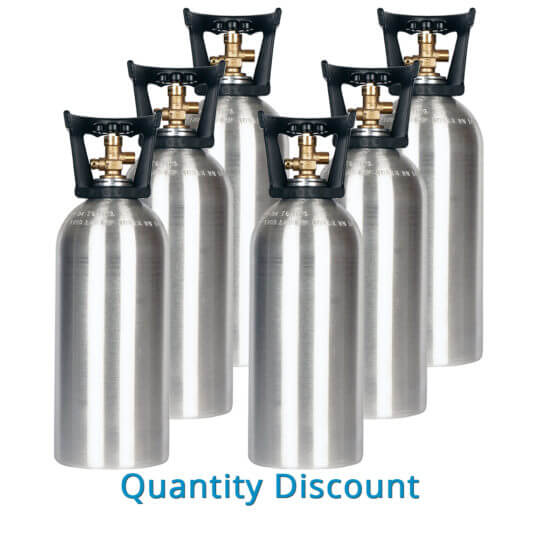 Gas Cylinder Source Six 10 lb Aluminum CO2 Cylinders with Handles - Volume Discount