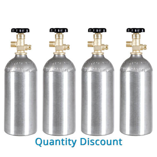 Gas Cylinder Source Four Aluminum CO2 Cylinders - Volume Discount
