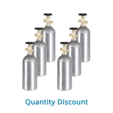Gas Cylinder Source Six Aluminum CO2 Cylinders - Volume Discount