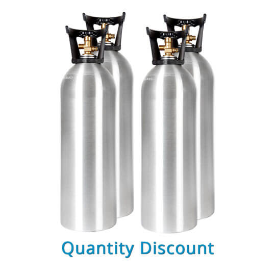 Gas Cylinder Source Four Aluminum 20 lb CO2 Cylinders - Volume Discount