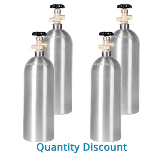 Gas Cylinder Source Four Aluminum 5 lb CO2 Cylinders - Volume Discount