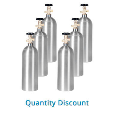 Gas Cylinder Source Six Aluminum 5 lb CO2 Cylinders - Volume Discount