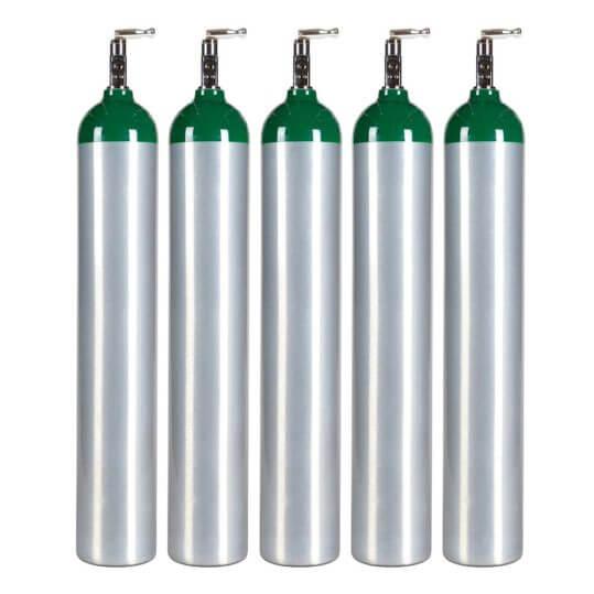 5 Pack Medical E Oxygen Cylinders
